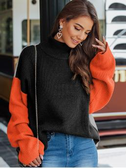 Pretty Long Sleeve Pullovers Acrylic Colorblock Turtleneck Color-block Ribbed Knit Sweater