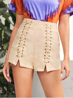 Clearance Apricot High Waist Grommet Eyelet Wide Leg Lace up Shorts