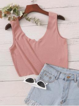 Casual Tank Plain Slim Fit Notched Pink Crop Length Notched Neck Rib-knit Tank Top