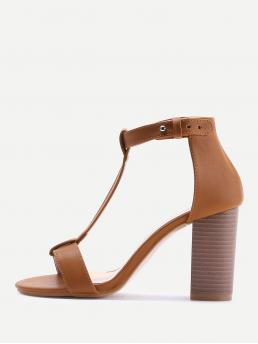 Open Toe T strap Brown High Heel Chunky T-strap PU Block Heeled Sandals