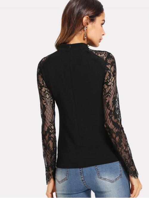 Shopping Long Sleeve Top Contrast Lace Mesh Lace Sleeve Blouse