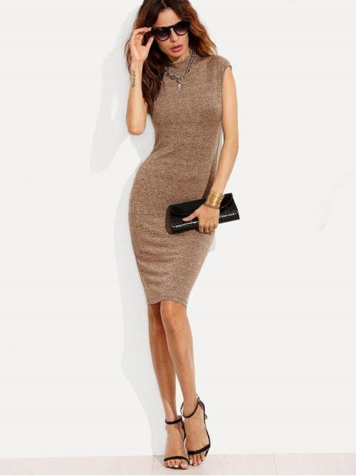 Womens Mocha Brown Plain Stand Collar Short Marled Knit Fitted Dress