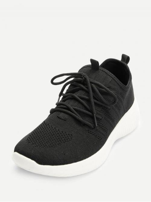 Corduroy Black Running Shoes Embroidery Knit Design Sneakers on Sale