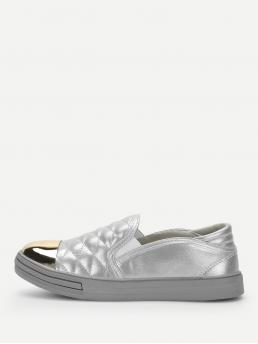 Comfort Round Toe Silver Quilted Cap Toe Sneakers