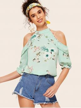 Casual Floral Top Regular Fit Stand Collar Half Sleeve Flounce Sleeve Pullovers Green Regular Length Floral Print Cold Shoulder Blouse