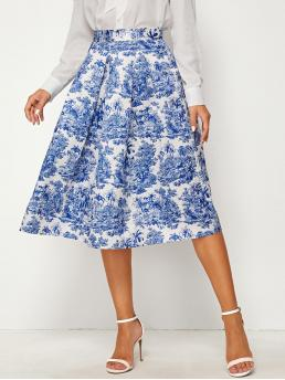 Elegant Pleated Landscape Print High Waist Blue Midi Length Landscape Print Wide Band Waist Pleated Satin Skirt