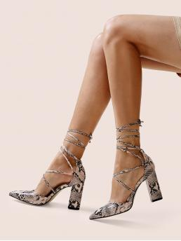 Business Casual Point Toe Snakeskin Print Strappy Multicolor Chunky Snakeskin Print Tie Leg Chunky Heels
