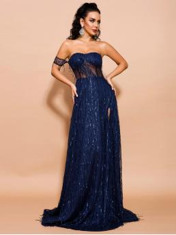 Glamorous Fit and Flare Plain Slit Regular Fit One Shoulder Short Sleeve High Waist Navy Maxi Length Missord Split Thigh One Shoulder Sequin Mesh Maxi Dress with Lining