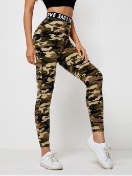 Cheap Multicolor Tape Regular Camo Letter Waist Leggings