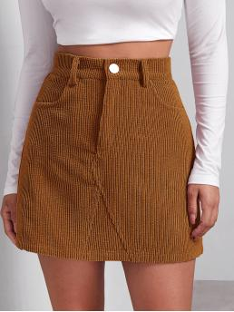 Affordable Brown High Waist Button Front Straight Buttoned Front Cord Skirt