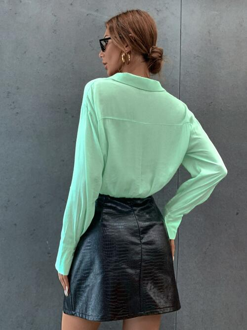 Long Sleeve Shirt Button Front Viscose Solid Button up Blouse Discount