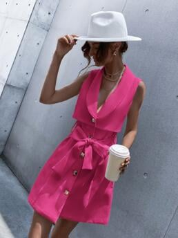 Pretty Hot Pink Plain Button Collar Solid Front Dress