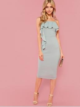 Glamorous Cami Plain Slim Fit Spaghetti Strap Sleeveless Natural Blue Midi Length Flounce Embellished Fitted Cami Dress