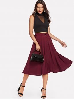 Elegant A Line Plain Mid Waist Burgundy Midi Length D-Ring Belt Detail Button Up Skirt