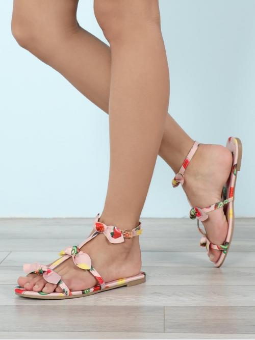 Cheap Corduroy Pink Gladiator Sandals Bow Detailedpy Sandals