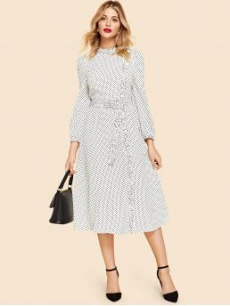Vintage Polka Dot Flared Stand Collar Long Sleeve Natural Black and White Long Length Button Up Belted Polka Dot Dress with Belt