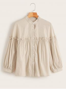 Casual Plain Shirt Regular Fit Stand Collar Long Sleeve Placket Beige Regular Length Ruched Bishop Sleeve Trim Button Front Blouse