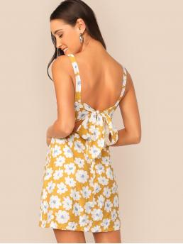 Casual Cami Floral Straight Loose Straps Sleeveless High Waist Multicolor Short Length Flower Print Knot Back Sundress
