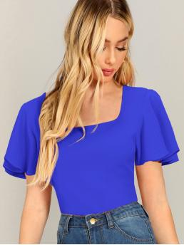 Elegant Plain Top Slim Fit Square Neck Short Sleeve Butterfly Sleeve Pullovers Blue and Bright Regular Length Square Neck Flutter Sleeve Textured Top