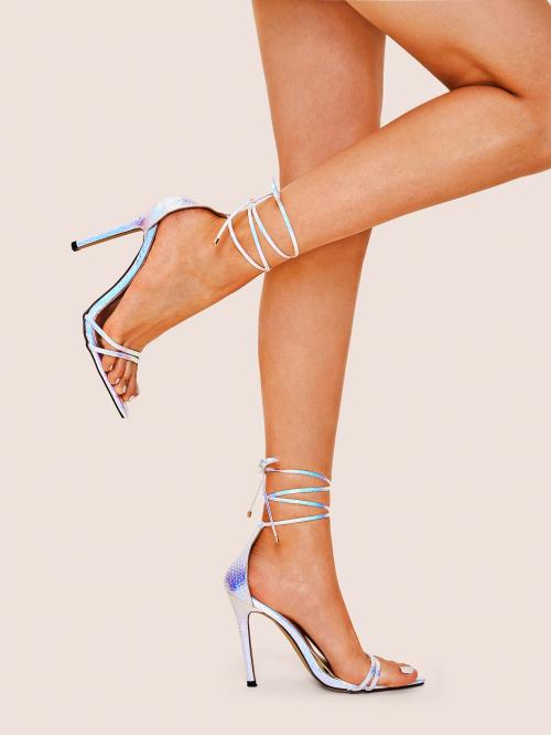 Glamorous Open Toe Lace Up Multicolor