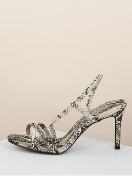 Glamorous Open Toe Snakeskin Print Slingbacks Black and White High Heel Stiletto Snake Print Multi Strap Slingback Low Heel Sandals