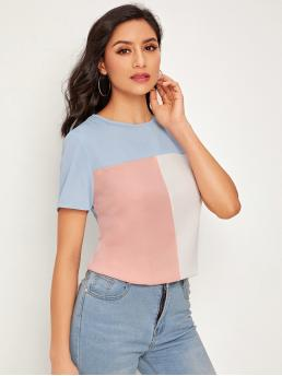 Casual Colorblock Top Regular Fit Round Neck Short Sleeve Regular Sleeve Pullovers Multicolor and Pastel Regular Length Colorblock Short Sleeve Top