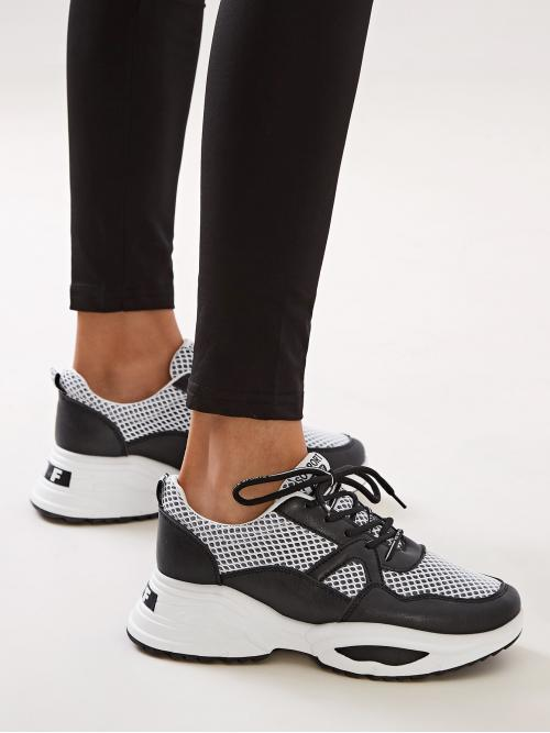 White Lace-up Front Chunky Sneakers