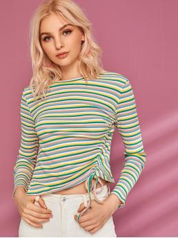 Casual Striped Slim Fit Round Neck Long Sleeve Regular Sleeve Pullovers Multicolor Regular Length Rib-knit Drawstring Side Striped Tee