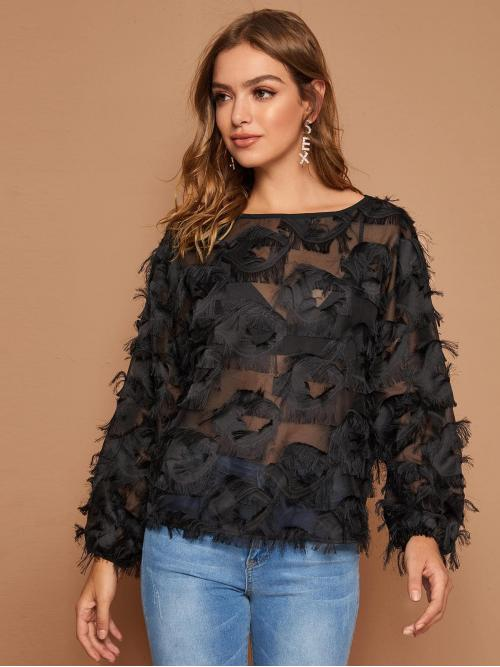 Glamorous and Sexy Plain Top Regular Fit Round Neck Long Sleeve Regular Sleeve Pullovers Black Regular Length Fuzzy Trim Sheer Top Without Bra