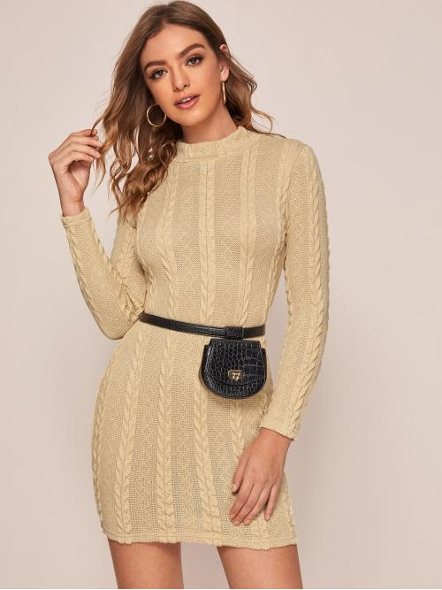 Casual Bodycon Plain Pencil Slim Fit Stand Collar Long Sleeve Regular Sleeve Natural Beige Short Length Mock Neck Cable Knit Bodycon Dress Without Bag