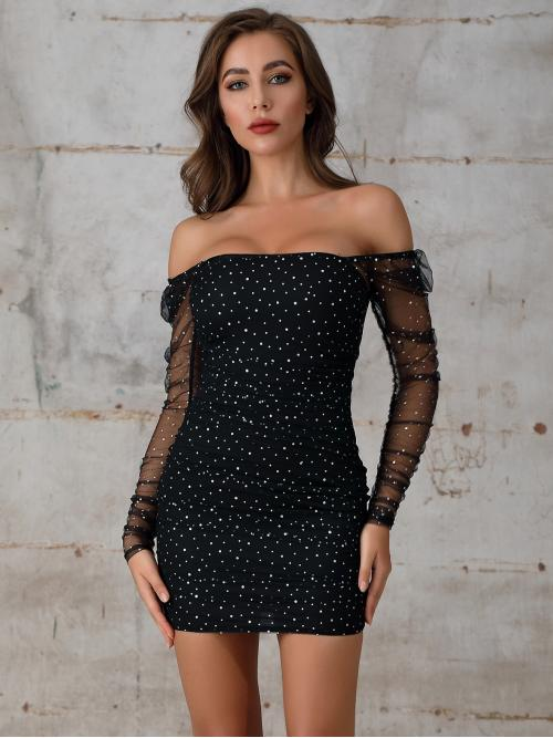 Glamorous and Sexy Bodycon Polka Dot Pencil Slim Fit Off the Shoulder Long Sleeve Regular Sleeve Natural Black Short Length Double Crazy Off Shoulder Rhinestone Detail Mesh Bodycon Dress with Lining
