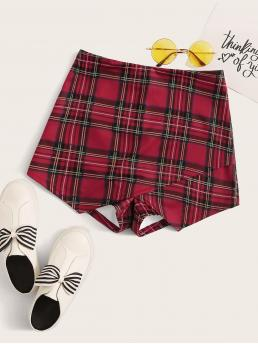 Casual Tartan Culottes Regular Zipper Fly Mid Waist Red Zipper Back Asymmetrical Hem Tartan Skort