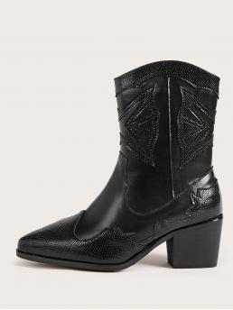 Business Casual Animal Side zipper Black Mid Heel Chunky Lizard Print Point Toe Chunky Heeled Boots