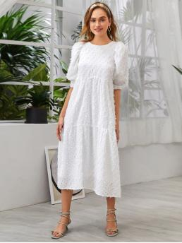 Cute Smock Plain Flounce Regular Fit Round Neck Half Sleeve High Waist White Long Length Fringe Overlay Bishop Sleeve Smock Dress with Lining