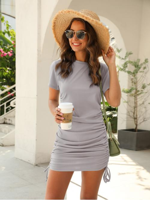 Casual Fitted Plain Pencil Regular Fit Round Neck Short Sleeve Regular Sleeve Light Grey Short Length Solid Drawstring Side Fitted Dress