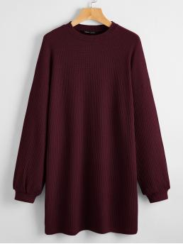 Sale Maroon Plain Round Neck Short Solid Waffle Knit Dress