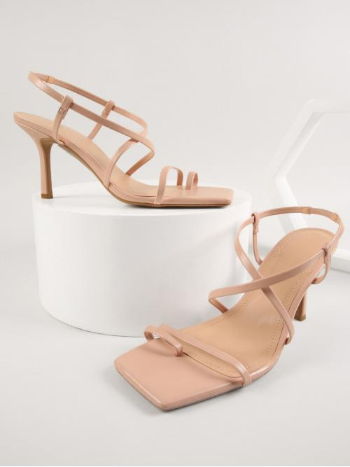 Apricot Thong Sandals Mid Heel Stiletto Vegan Leather Toe-ring Heels Shopping