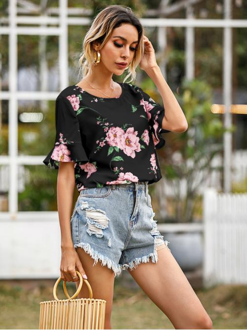 Short Sleeve Top Ruffle Polyester Blouse Discount