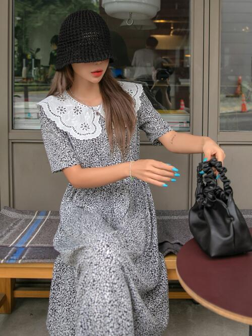 White Plants Eyelet Embroidery Peter Pan Collar Contrast Collar Dress Beautiful