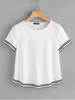 Casual Striped Regular Fit Round Neck Short Sleeve White Knit Striped Trim Tee