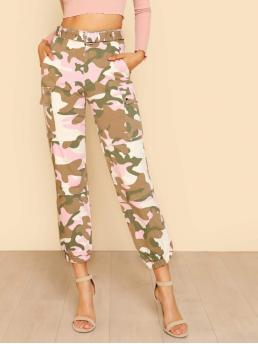 Casual Camo Straight Leg Regular Zipper Fly High Waist Multicolor Cropped Length Camo Print Cargo Pants with Belt