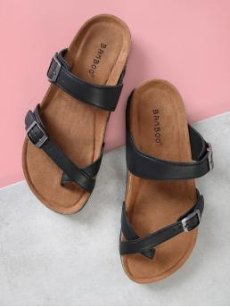 Toe Post Black Cork Footbed Double Strap Thong Sandals