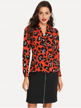 Elegant Leopard Wrap Peplum Regular Fit Shawl Collar Long Sleeve Red Regular Length Wrap Knot Leopard Print Top