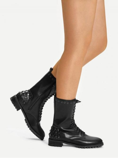 Corduroy Black Combat Boots Studded Lace-up Front Rivet Detail Boots Sale