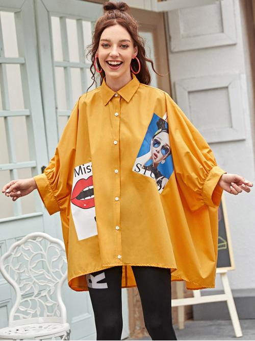 Casual Letter and Figure Asymmetrical Shirt Oversized Collar Long Sleeve Placket Yellow Longline Length Batwing Sleeve High-low Hem Figure Graphic Blouse