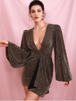 Glamorous and Sexy Fitted Leopard Wrap Regular Fit Deep V Neck Long Sleeve Natural Brown Short Length LOVE&LEMONADE Plunging Neck Bishop Sleeve Wrap Leopard Fitted Dress with Lining