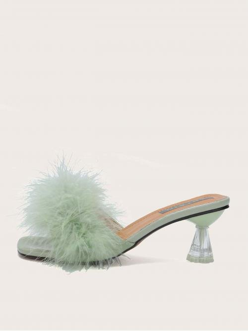 Polyester Green Mules Ruched Bust Faux Fur Decor Heeled Mule Sandals Discount