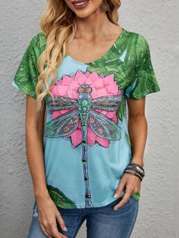 Clearance Short Sleeve Polyester Animal Multicolor Dragonfly & Tee