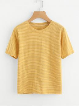 Casual Striped Regular Fit Round Neck Short Sleeve Yellow Striped Short Sleeve Tee