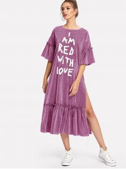 Sale Purple Slogan Frill Round Neck Slit Ruffle Hem Glitter Dress